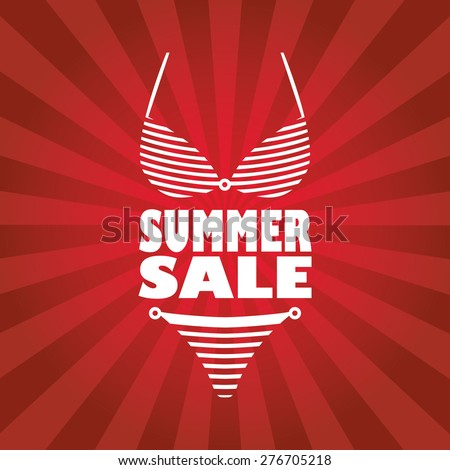 Summer sale poster with sexy woman bikini and text. Red rays stripes background flyer for promotion, advertising. Eps10 vector illustration. - stock vector