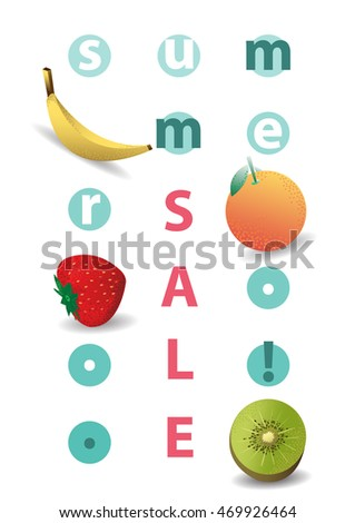 Summer sale. Sale posters. Fruit. Vector illustrations for website and mobile website banners, posters.