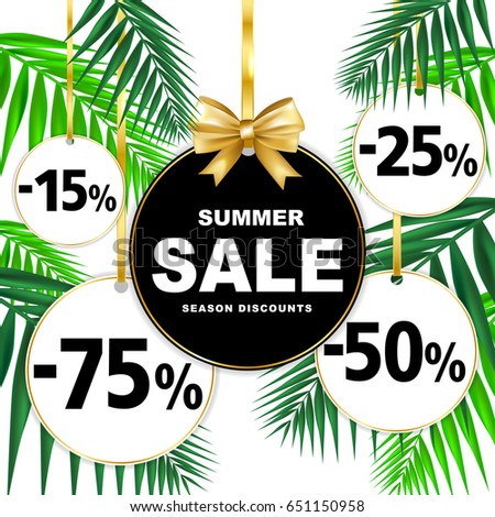 Summer sale season discounts banner with paper badges and palm  leaves. Shop market poster design. Vector illustration.