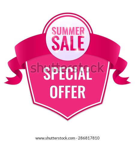Summer Sale tag with special offer text and pink ribbon. Concept of discount. Vector illustration. - stock vector