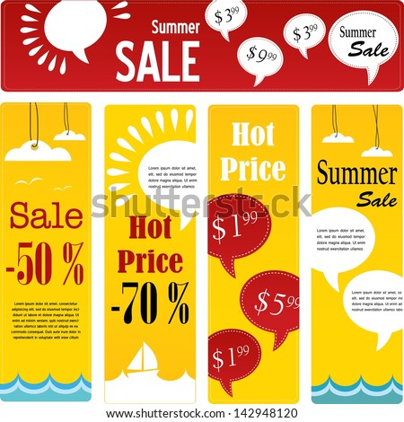 summer sale tags set with speech - stock vector