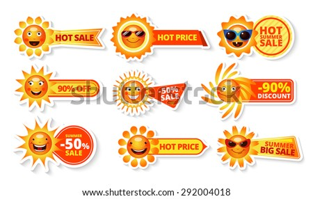 Summer sale tags with smiley sun and hot price with big discount labels isolated  vector illustration - stock vector