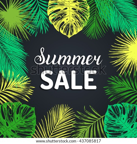 Summer sale vector background. Season discount with vintage tropical plants illustration. Special offer poster in jungle foliage frame.