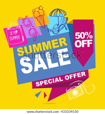 Summer sale vector banner.  Vector illustration.
