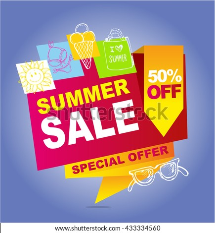 Summer sale vector banner.  Vector illustration. 50%off.