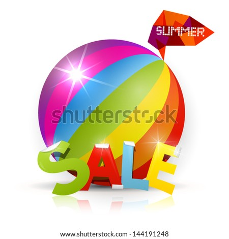 Summer Sale - vector colorful heading with ball on background - stock vector
