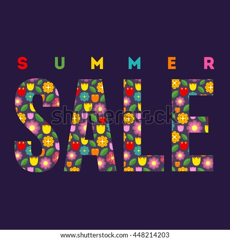 Summer Sale. Vector summer concept on the dark background. Colorful summer illustration.