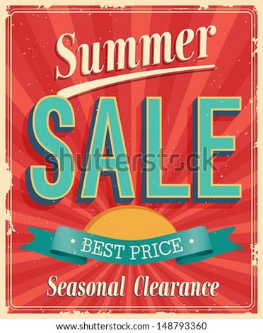 Summer Sale. Vintage card. Vector illustration. - stock vector