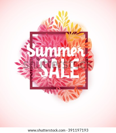 Summer sale watercolor flower decoration, pink and orange leaf and copy space for your text