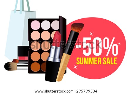 Summer sale with bag, polish, concealer and brushes of cosmetic. Vector. Design template for sale. Concept sale for cosmetic and makeup. Shopping. Commercial elements and badges with sale messages. - stock vector