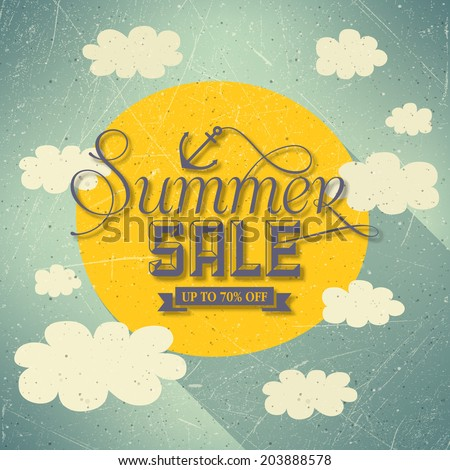 Summer Sale With Clouds And Sun - stock vector