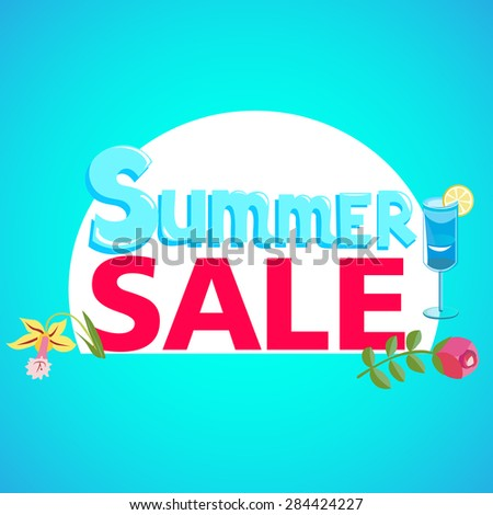 Summer sale with flowers and berries-vector illustration