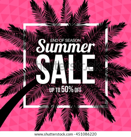 Summer sale with palm on triangle background. Easy to change background color. Vector background for banner, poster, flyer, card, postcard, cover, brochure. - stock vector