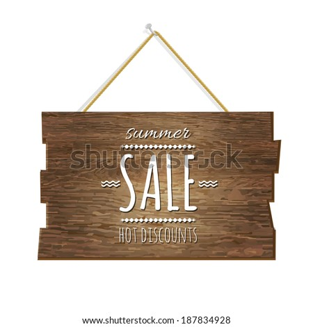 Summer Sale Wooden Board - stock vector