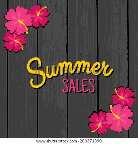 Summer sales design with hibiscus flowers in vibrant pink on a grey wooden background. - stock vector