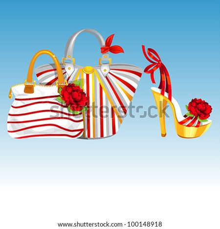 Summer Sandal and two Handbags - stock vector