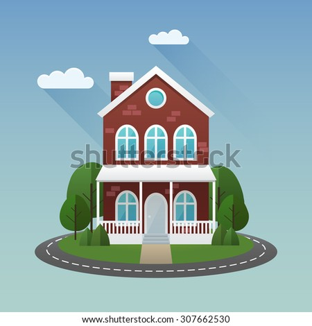 Summer scene illustration. Vector flat image with house and trees. - stock vector