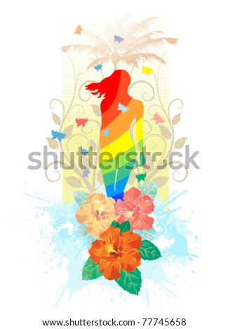 Summer scene. Vector illustration without gradients, great for printing. - stock vector
