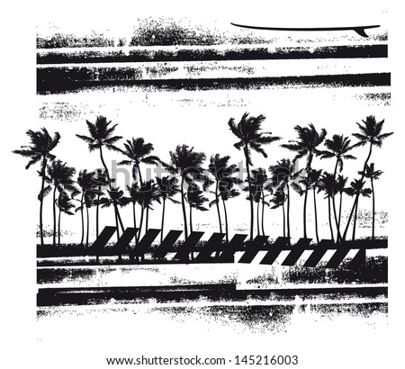 summer scene with many palms