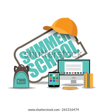 Summer school icon with computer, notebook, backpack and baseball cap. EPS 10 royalty free stock illustration for ad, promotion, poster, flier, blog, article, social media, marketing - stock vector