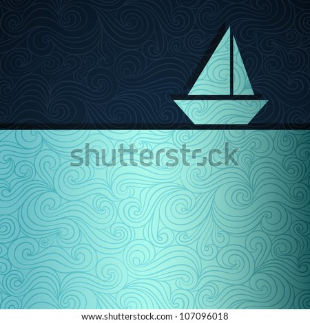 Summer sea banner with sailing boat made of fancy paper, vector eps8 illustration - stock vector