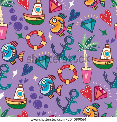Summer sea holiday background! Vector backdrop. Bright pattern. Summer template - stock vector