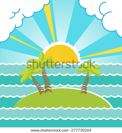 Summer sea landscape with island vector illustration. - stock vector