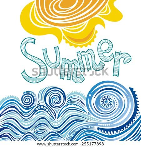 Summer sea sun nature pattern background vector illustration - stock vector