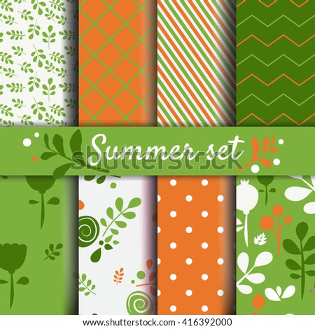 Summer seamles patterns set. Spring floral and abstract backgrounds Vector images - stock vector