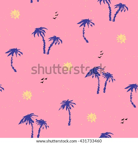 Summer seamless pattern. Palm tree silhouettes, sun, birds in bright pink, yellow and blue. Tropical background.