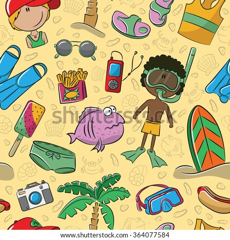Summer seamless pattern with cute kids and beach objects - stock vector