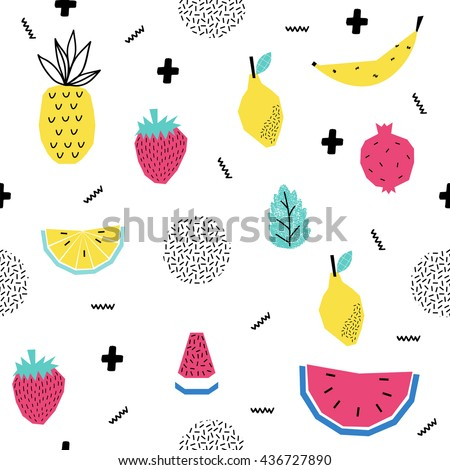 Summer seamless pattern with watermelon, strawberry and other fruits. Pop Art Style. Vector illustration.  - stock vector