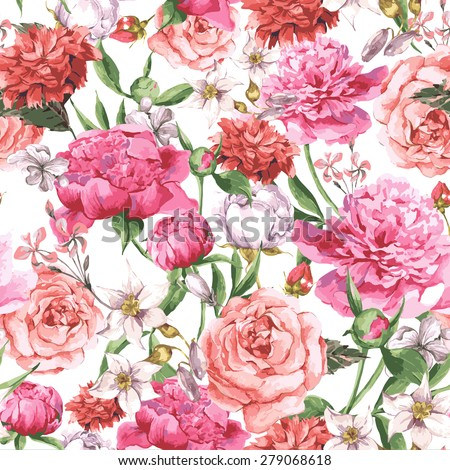 Summer Seamless  Watercolor Pattern with Pink Peonies and Roses on a White Background, Vector Illustration on a White Background - stock vector