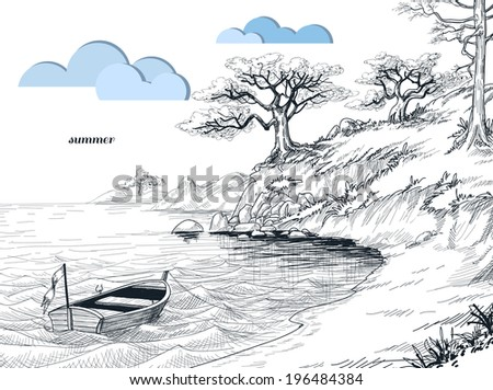 Summer seascape sketch, olive trees on shore, small boat on water - stock vector