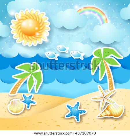Summer seascape with palms and shells, vector illustration - stock vector