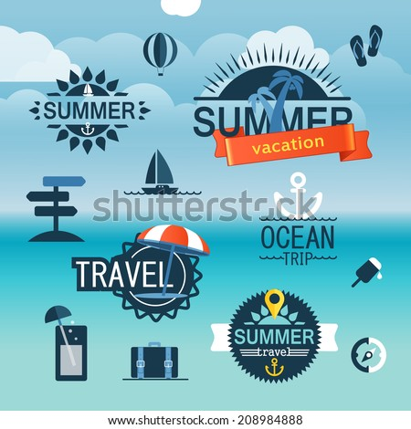 Summer seaside vacation icons. Different stuff collection - stock vector