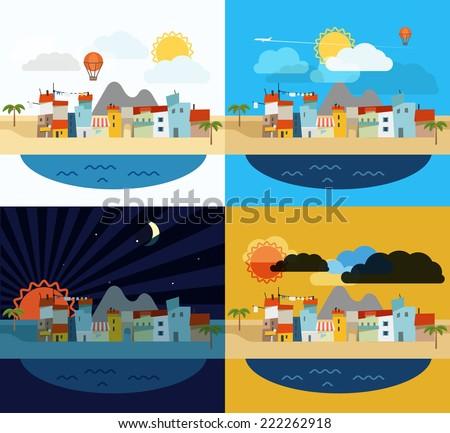 Summer seaside vacation illustration - stock vector