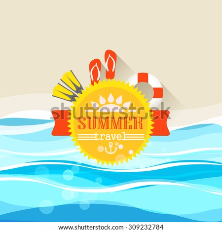 Summer seaside vacation illustration  - stock vector