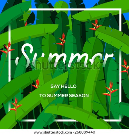 Summer season concept, tropical paradise with palm leaves, vector illustration. - stock vector