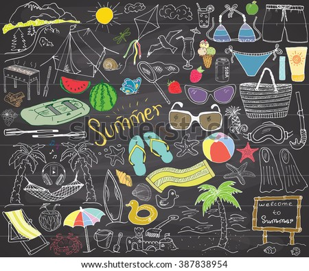 Summer season doodles elements. Hand drawn sketch set with sun, umbrella, sunglasses, palms and hammock, beach, camping items and mountains, tent and raft, grill, kite. Drawing doodle, on chalkboard. - stock vector