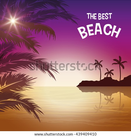 Summer season. Palm and beach icon. vector graphic