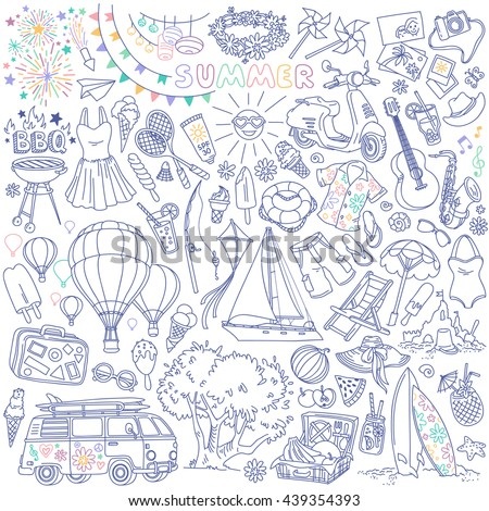 Summer season themed doodle set. Traditional symbols and activities: sun, beach, surfing, yacht, travelling, picnic,  barbecue party. Freehand vector drawing isolated over white background.