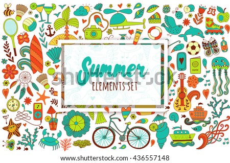 Summer set doodle elements. Travel drawing. Vacation design vector illustration.