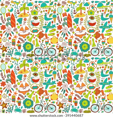 Summer set doodle pattern. Travel drawing. Vacation design vector illustration.