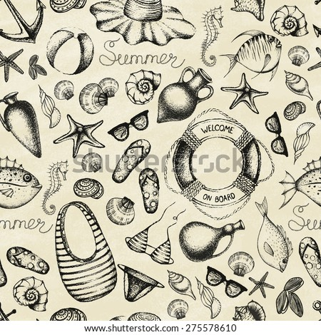 Summer set. Hand drawn retro icons summer beach set on a grunge paper background. Vintage style. Seamless pattern. Vector illustration. - stock vector