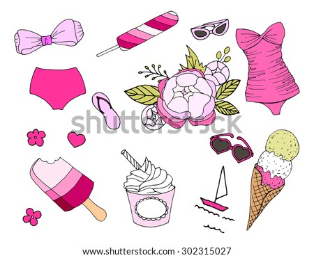 Summer Set - Ice Cream, Swimsuits, Sunglasses, flowers,