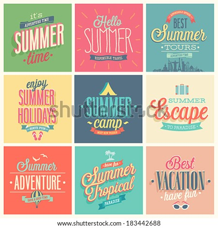 Summer set - labels and emblems. - stock vector
