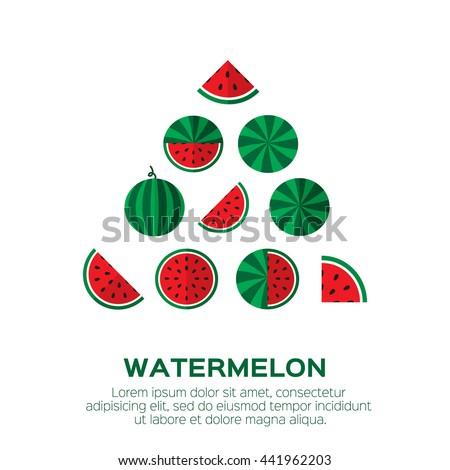 Summer set of fresh ripe watermelon. Single watermelon, half a watermelon, a slice of watermelon. Red Watermelon concept vector illustration