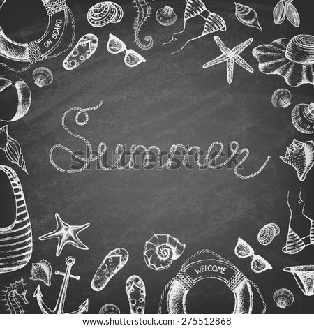 Summer set on the blackboard. Hand drawn retro icons summer beach set on a grunge paper background. Vintage style. Vector illustration. - stock vector