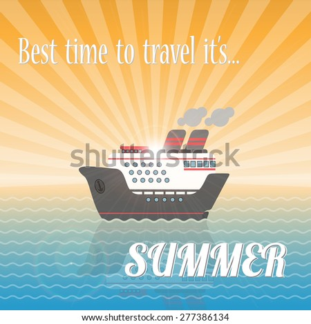Summer ship cruise in the sea at sunset.vector illustration eps10 - stock vector